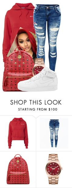 """""""Untitled #445"""" by sarajordan2993 on Polyvore featuring RE/DONE, MCM, Michael Kors and NIKE"""