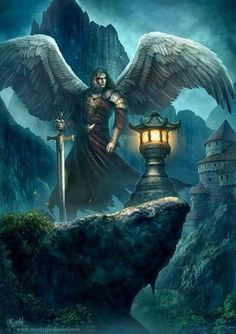 Angels and Demons Angels Among Us, Angels And Demons, Fantasy Creatures, Mythical Creatures, Dark Fantasy, Fantasy Art, Guerrero Dragon, Celestial, Male Angels