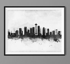 Seattle Skyline Watercolor Art Print Poster. The print is on French Cotton Paper Arches - 160gr The history of the Arches Papers starts in 1492. The