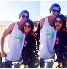 Zac with a fan on the beach on May 11, 2014