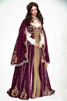 Renaissance Clothing, Renaissance Fashion, Barbie Gowns, Barbie Clothes, Purple Velvet Dress, Medieval Dress, Kaftan, Costume Design, Fashion Dolls