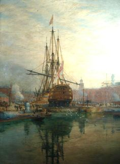 William Lionel Wyllie The Main Yard of HMS Victory Being Crossed