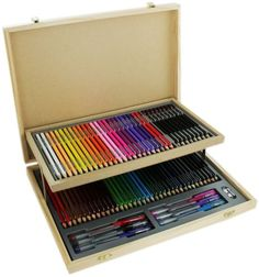 Wood #stationery set with case 75 #pencils home school #paint drawing art kids gi,  View more on the LINK: http://www.zeppy.io/product/gb/2/252177230362/