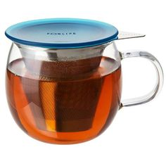 Teal Lucidity Glass Brew-In Tea Cup