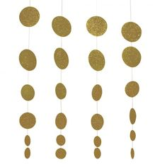 Creative Converting Glitz Gold Hanging Décor, Diecut Glitter Circle Garland, 4 Strands Per Package: Toys & Games Sweet 16 Party Decorations, Gold Wedding Decorations, Garland Wedding, Decor Wedding, Birthday Decorations, Green Glitter, Silver Glitter, Circle Crafts, Circle Garland