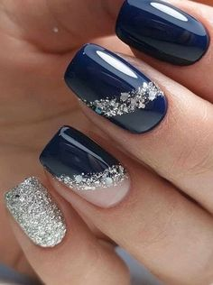 Classy Nails, Stylish Nails, Cute Nails, Pretty Nails, Simple Nails, Winter Nail Art, Winter Nail Designs, Winter Nails, Winter Art