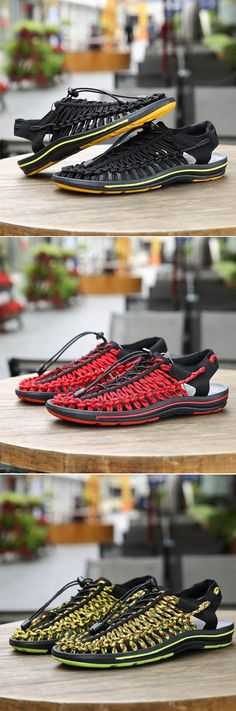 Men Hand Woven Laces Breathable Elastic Laces Soft Light Casual Shoes