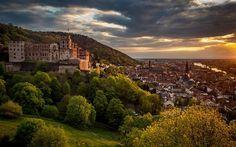 Lataa kuva Heidelbergin Linna, Illalla, kaupungin panorama, sunset, Heidelberg, Saksa