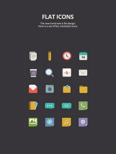 "Flat Icons by Gabriel Ciprian Magda, via Behance / does ""flat"" imply no gradients?  I think it's more complex than ""flat,"" but it's definitely an interesting new trend"