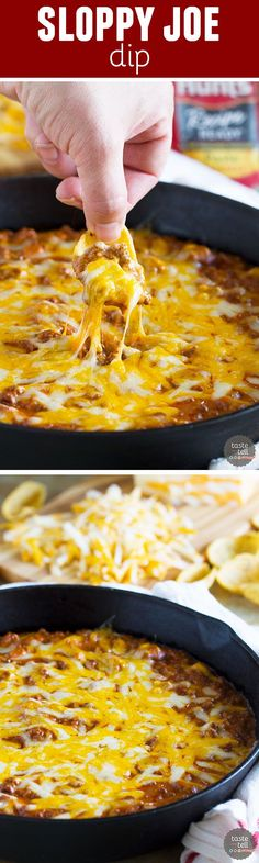 Sloppy Joe Dip : Turn a family friendly dinner idea into an appetizer that your friends won't be able to get enough of! This Sloppy Joe Dip is cheesy and beefy and definitely crowd pleasing. Sloppy Joe, Tapas, Appetizer Recipes, Appetizer Dips, Appetizer Dinner, Football Food, Finger Foods, Cooking Recipes, Meal Recipes