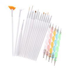 1Set Hot Sale Design Painting Dotting Detailing Nail Art Pen Brushes Bundle Tool Kit Set Nail Brush 20pcs/Set Nail styling tools
