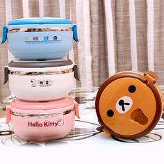 New arrival hello kitty cartoon thermal lunch box stainless steel lunch boxes for kids tableware food container thermos for food
