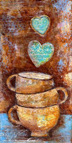 ☕ Coffee ♥ Craft ☕ Toni Kami Coffee cup & hearts art long pin