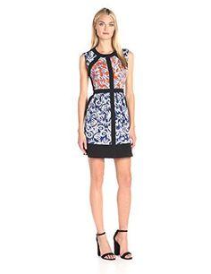 BCBGMax Azria Womens Donatella Print Block Dress Saffron Combo 6 * Visit the image link more details. (This is an affiliate link)