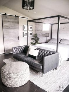 Create a cozy but modern Master Bedroom Seating Area by placing a sofa in front of a canopy and finishing it off with a textured gray ottoman and rug. Bedroom Couch, Bedroom Seating, Home Decor Bedroom, Bedroom Furniture, Bedroom Ottoman, Bedroom Ideas, Canopy Bedroom, Bedroom Apartment, Bed Room