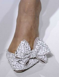 GORG Embellished White Bow Bridal Shoes