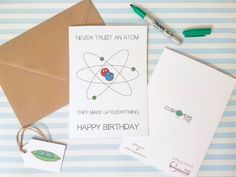 Funny #Science Geek Birthday Card Atom #Puns by cushobi