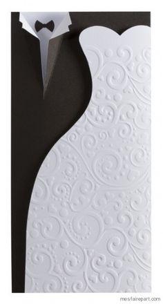 Faire part de mariage fantaisie noir et blanc Buromac la vie en rose 104.062 104.062
