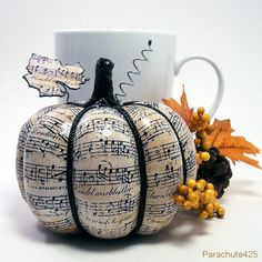 MUSIC PUMPKIN 4, decoupage paper pumpkin, Music decor, Fall decor, Halloween, recycled materials