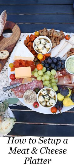 How to Setup a Meat & Cheese Platter. Charcuterie. al fresco Dinner Party Menu, Setup Tips. Easy, Late Summer Dinner Party Menu, Setup Tips w Make-Ahead Recipes #dinnerparty #dinner #makeahead #makeaheadrecipes #recipes #healthy #summer #entertainig #hostess #lmrecipes Dinner Party Recipes Make Ahead, Summer Dinner Party Menu, Make Ahead Meals, Cheese Platter Board, Meat Cheese Platters, Al Fresco Dinner, Late Summer, Cheese Recipes, Snack Recipes