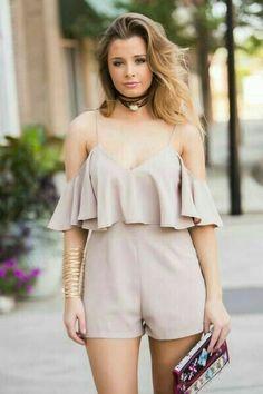 Creamy ruffle romper dress - summer fashion