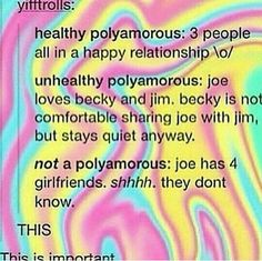 Don't know why people are against polyamorous relationships. As long as everybody involved is happy it doesn't concern anybody else.<< Yes, and while this isn't really SAGA I think it is important enough to pin it here Polyamorous Relationship, Intersectional Feminism, Lgbt Community, Why People, Faith In Humanity, Tumblr Posts, Equality, Positivity, Polyamory Quotes