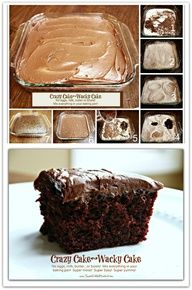 CRAZY CAKE, also known as Wacky Cake & Depression Cake- No Eggs, Milk, Butter,Bowls or Mixers!!! Used to make this with My grandma. It's the best chocolate cake!!!