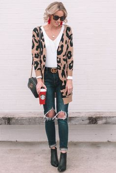 365f1c636e1 Leopard Cardigan. Cozy Winter OutfitsLeopard Cardigan OutfitLeopard  DressCardigan OutfitsSimple OutfitsCasual Fall ...