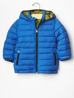 Boy Puffer Winter Jacket Hood Blue Green Camo Zipper GAP Warmest Reversible $68 #babyGap #Jacket #Everyday