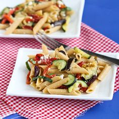 Roasted Vegetable Pasta Salad Recipe with Eggplant, Zucchini & Roasted Peppers (omit or substitute the cheese to make this vegan! )