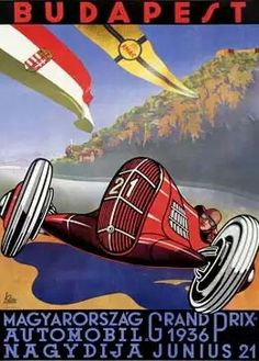 1936 Hungarian Grand Prix poster.  The first Hungarian Grand Prix was held on 21 June 1936 over a 3.1-mile (5.0km) track laid out inNépliget,a park inBudapest. The Mercedes-Benz,Auto Union, and the Alfa Romeo-equippedFerrariteams all sent three cars and the event drew a very large crowd. However, politics and the ensuingwar meant the end ofGrand Prix motor racingin the country for fifty years. #HungarianGP