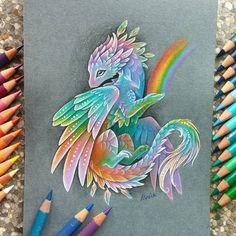 "Polubienia: 3,202, komentarze: 68 – Alvia (@alviaalcedo) na Instagramie: ""Rainbow dragon The one, who brings a rainbow ✨ #dragon #rainbow"""