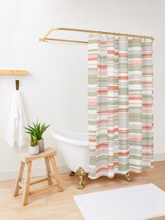 """""""Mosaic Rectangles in Coral, Sage, Blush, Cream and Gray"""" Shower Curtain by MenegaSabidussi 