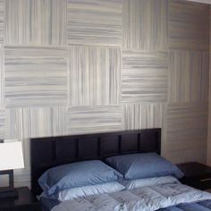 Headboard Zebrawood Squares Wall in Modern Masters Warm Silver Metallic Paint over a Brown/Taupe. Artistry by Stanger Projects.