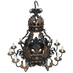 Very Large and Rare French 1930 Wrought Iron Chandelier | From a unique collection of antique and modern chandeliers and pendants  at https://www.1stdibs.com/furniture/lighting/chandeliers-pendant-lights/