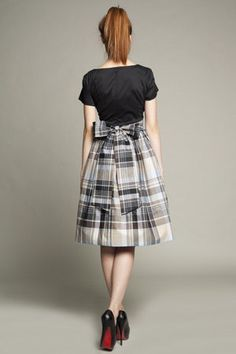 Cotton Dress with Tartan Skirt by Mrs Pomeranz by mrspomeranz, £285.00