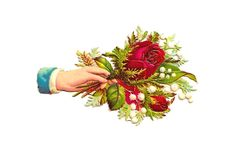 Antique Images: Free Flower Clip Art: Victorian Die Cut of Hand Whimsy Red Rose Bouquet