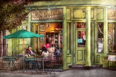 Cafe - Hoboken Nj - Empire Coffee And Tea Photograph - Cafe - Hoboken Nj - Empire Coffee And Tea Fine Art Print Tea Places, Pintura Exterior, Street Painting, Cafe Art, Hdr Photography, Foto Art, Pause, Russian Art, Cafe Restaurant