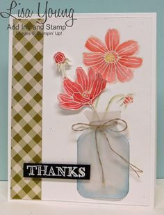 Stampin' Up! Helping Me Grow stamp set. Flowers in Vase. Handmade thank