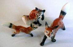 Bone China Miniatures Red Foxes 1950s Vintage Hi Style Bridge Japan Collectible