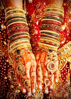 In Southern states of  India gold bangles hold the most important place for the bride. It is necessary for the bride to wear gold bangles.The girl who is getting married tries to wear a smaller size of glass bangle, because it is believed that the smaller a bangle the happier she would be in her married life. Glass bangles signify safety, prosperity and good health for the husband. If a glass bangle breaks accidentally, it is considered as bad omen for husband's life.