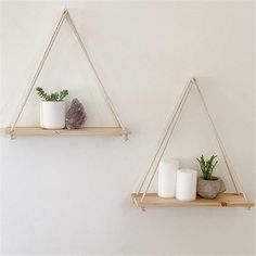 Hanging Rope Shelves, Wall Mounted Shelves, Plant Shelves, Wood Shelves, Shelves In Bedroom, Home Decor Shelves, Wood Home Decor, Diy Wall Shelves, Diy Crafts Room Decor