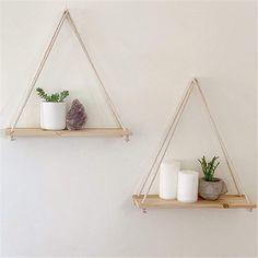 Diy Hanging Shelves, Plant Shelves, Wooden Shelves, Rustic Shelves, Decorative Shelves, Floating Wall Shelves, Hanging Planters, Wall Hanging Decor, Wall Mounted Planters