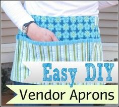 apron promor apron me vendor aprons Easy Sewing Projects, Sewing Crafts, Quilting Projects, Sewing Ideas, Apron Pattern Free, Apron Patterns, Craft Fair Table, Craft Fair Displays, Display Ideas