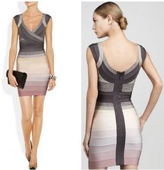 High Fashion Elegant Patchwork Sexy Bandage Dress For Women V-neck Elastic Knitted Celebrity Dress Free Shipping $84.00