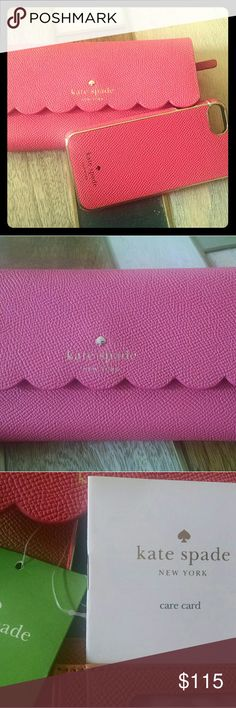 Kate Spade iphone 7 wallet Beautiful Kate Spade Coral/salmon pink wallet with iPhone case. The phone case is magnetic to the wallet. New with tags! kate spade Bags Wallets