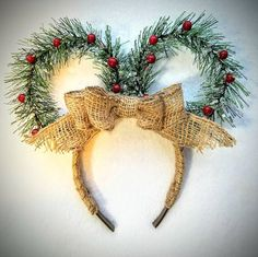 Christmas Wreath Minnie Mouse Ears!  Check out this item in my Etsy shop https://www.etsy.com/listing/573507749/christmas-wreath-mickey-mouse-ears