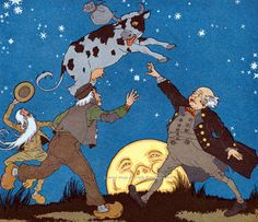 $2.75 Cow Jumps Over the Moon Repro Greeting Card Maud and Miska Petersham, in my Etsy store today.