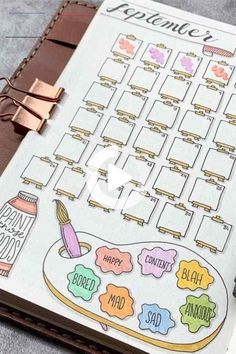 30 Best September Mood Tracker Ideas For Bullet Journals - Crazy Laura - #bulletjournaljanuar - The seasons are changing and it's a perfect time to switch up your bullet journals theme! These September mood tracker ideas will help you get started!... #bulletjournalideas #bulletjournal Bullet Journal Tracker, Bullet Journal School, Bullet Journal Weekly Spread, Bullet Journal Spreads, Bullet Journal Mood Tracker Ideas, Bullet Journal Paper, Bullet Journal Headers, Creating A Bullet Journal, Bullet Journal Cover Page
