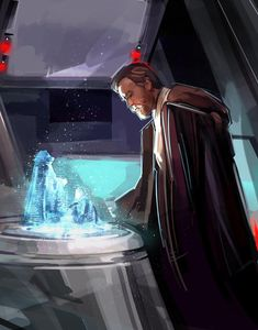 Obi-Wan Kenobi viewing the hologram depicting Anakin Skywalker's fall to the Dark Side | #starwars